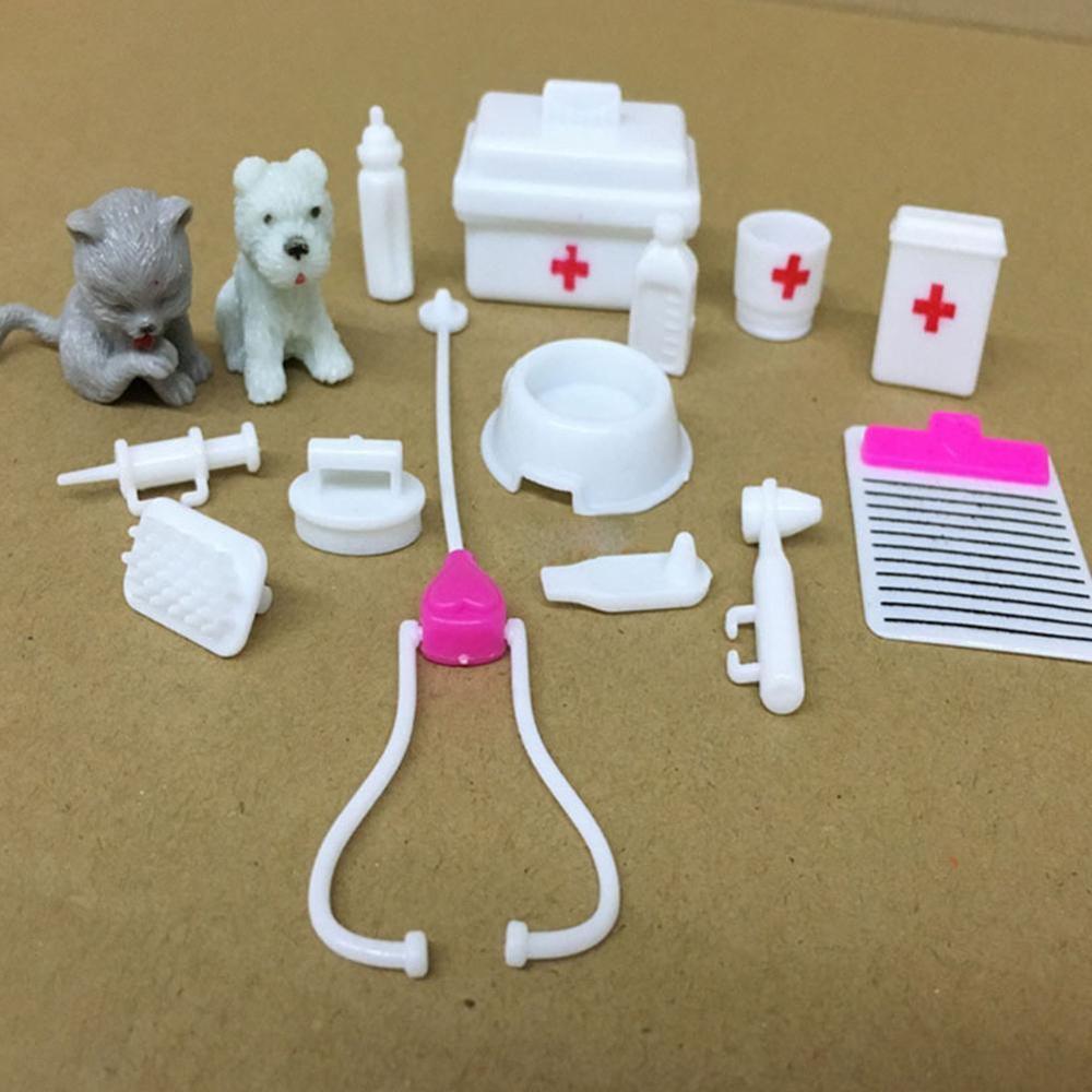 Casa de muñecas en miniatura, Kit de perro médico veterinario, juguete para niños, juguete para juego de diamantes de imitación, accesorios nuevos