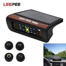 LEEPEE Car TPMS Digital LCD Display Solar Power Tyre Pressure Monitoring System Auto Security Alarm