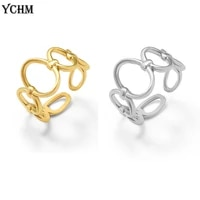 oval splicing adjustable open ring minimalist stainless steel geometric ring for women gold plated size 7 open finger ring 2021