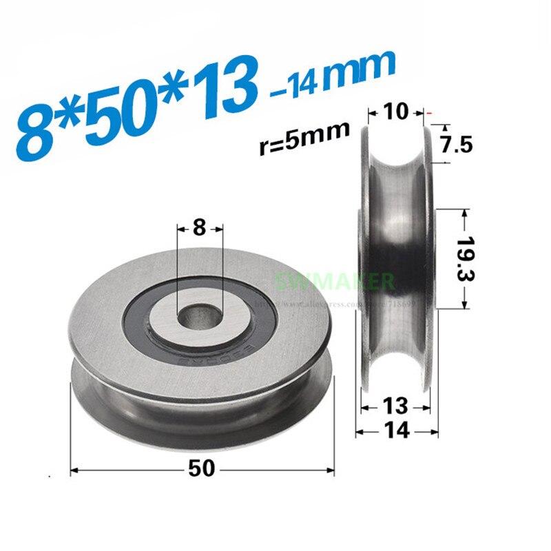 1 piezas 8*50*13mm metal rodamiento no estándar rueda de ranura en U, polea ranurada, rodillo de cable de acero R3/R5, rueda de máquina de trenzado
