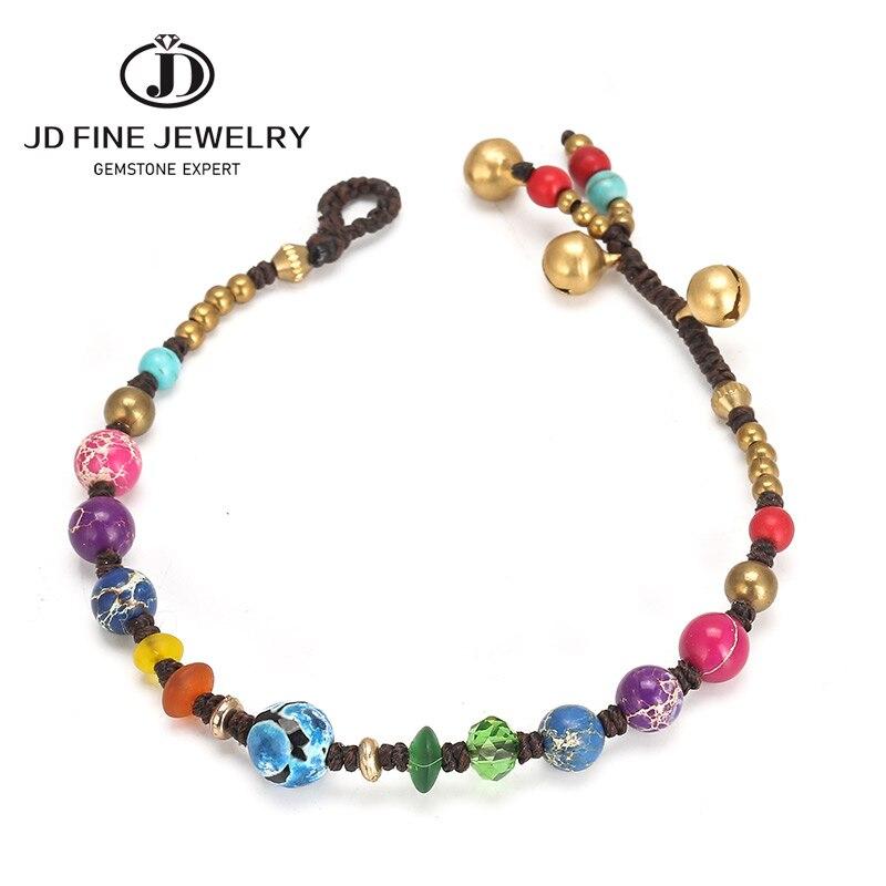JD bohême Bracelets empereur pierre chaîne tressée Bracelets perles colorées Yoga amitié guérison énergie Bracelet