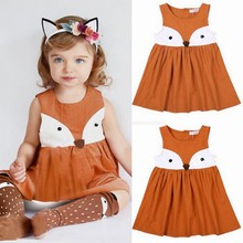 Niños bebé niñas vestido de verano vestido sin mangas naranja de dibujos animados lindo cremallera Fox elegante vestido de princesa fiesta de tul vestidos de tutú