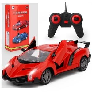 Модель автомобиля с дистанционным управлением, детские игрушки для мальчиков, подарки на день рождения, роботы, спортивный автомобиль с зарядкой, открывает дверь