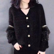 New 2021 Womens Autumn Winter Sweaters Fashionable Thicken Cardigan Vintage Knitwear Cardigan Black