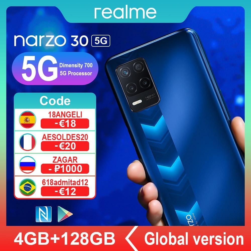 【$19 OFF Code: 8AESELETED19 】Realme Narzo 30 5G النسخة العالمية الهواتف الذكية NFC Dimensity 700 الثماني 4GB 128GB 5000mAh 48MP الثلاثي كاميرا الذكية الهواتف المحمولة