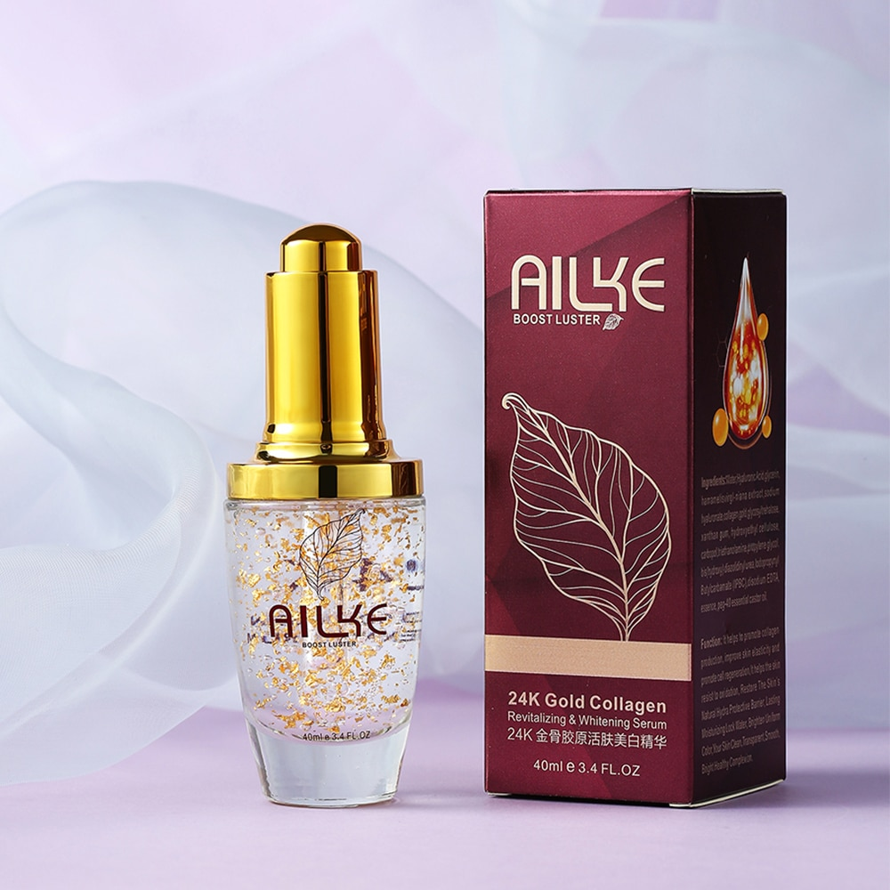 AILKE 24K face Gold Serum Facial Collagen whitening Moisturizing Essence ordinary skin care anti acne acido hialuronico women