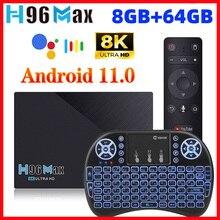 Suporte máximo 8k 24fps 2.4g/5g wifi 1000m google play youtube h96max 3566 4gb 32gb h96 caixa de tv rk3566 android 11 8gb ram 64gb rom