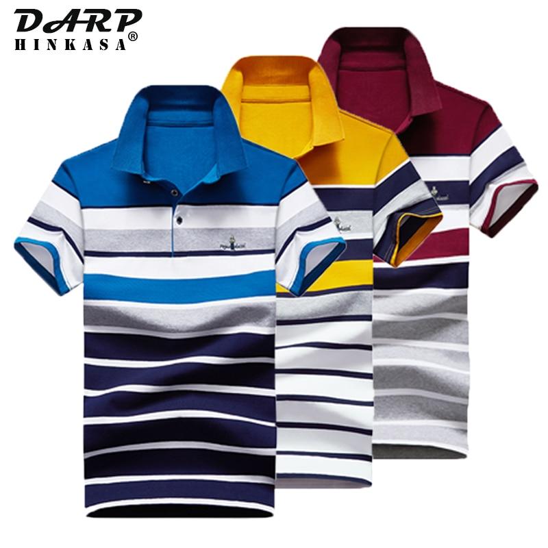 2021 Summer Men Embroidery Polo Shirt Business Casual Loose Big Size Stripe Polo Shirt Men Cotton Fa