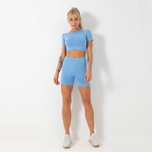 Two Piece Set Women Tracksuit Seamless Yoga Gym Clothing Women 's Shorts Suit Fit Summer Physical Exercise Jogging Tight Tracksu