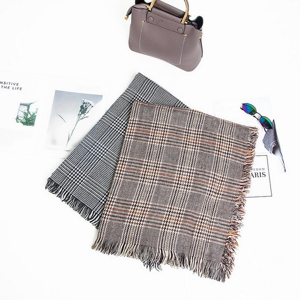 New brown plaid black and white thousand bird Plaid scarf With tassel Fashion Luxury scarfs for ladies