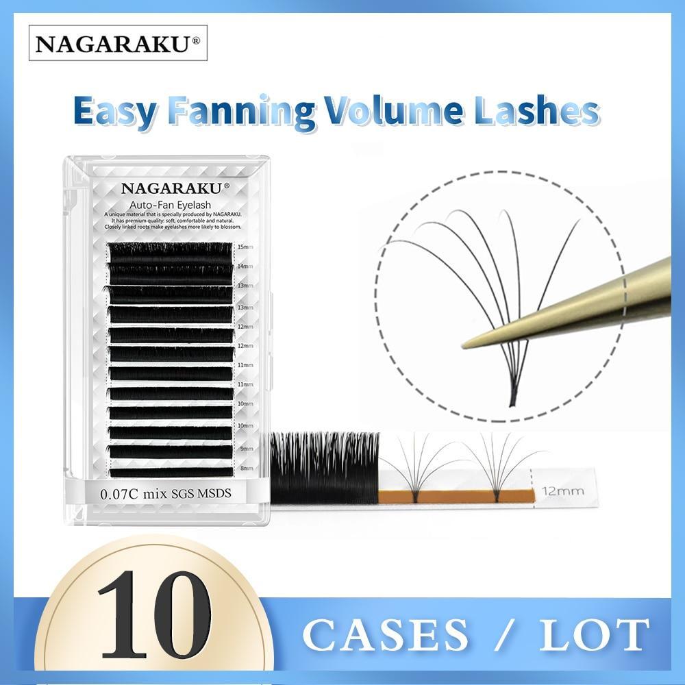 NAGARAKU-extensiones de pestañas, 10 cajas, fácil de Fanning, extensión de pestañas, floración...
