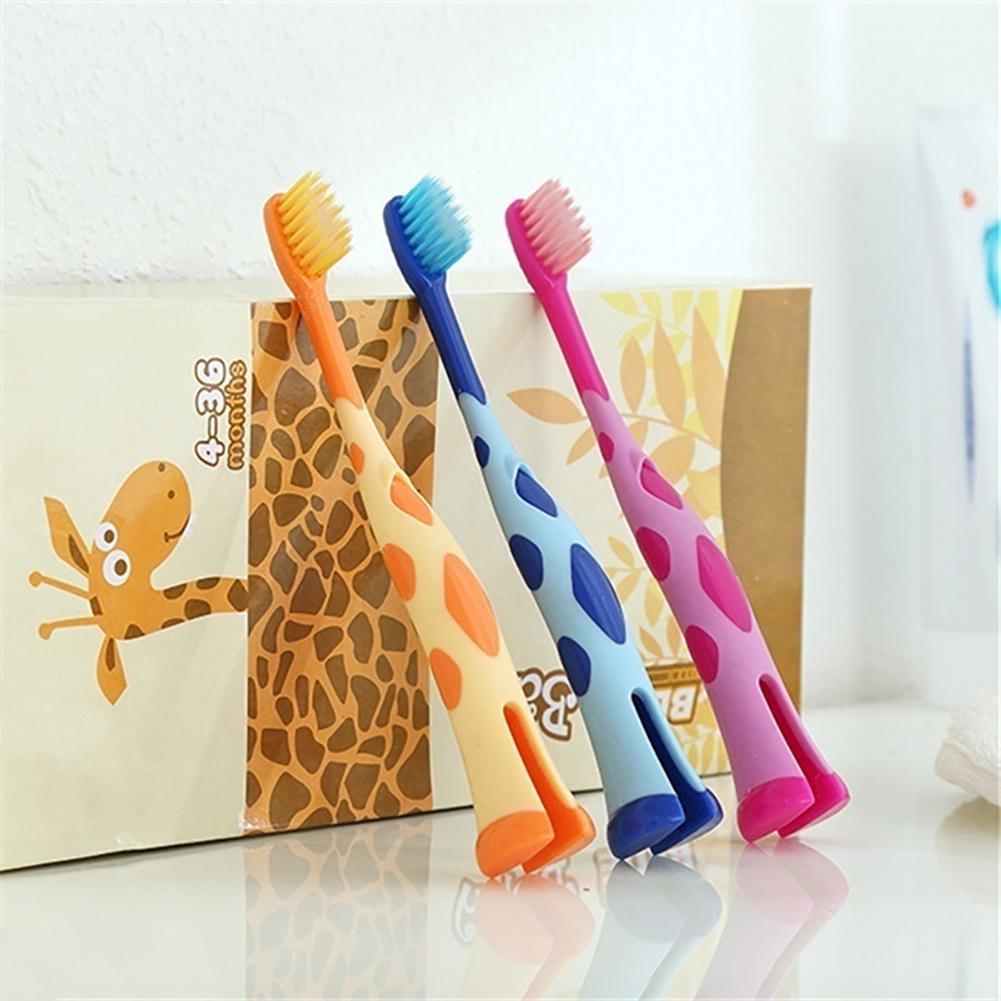 Girafa bonito crianças treinamento escovas de dentes suporte macio escova dental cuidado oral adequado 3-12 anos desenvolve boa higiene oral