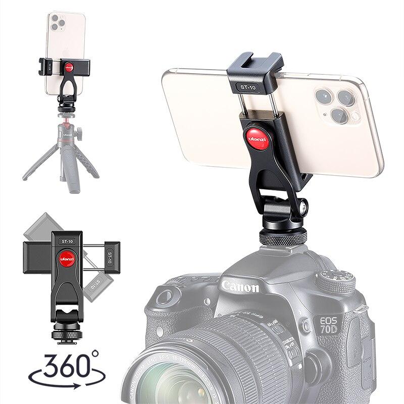 Ulanzi ST-10 doble zapata fría teléfono trípode montaje 360 rotación ajustable Vlog Cámara soporte DSLR luz LED micrófono soporte