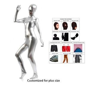 2021 free ship bodysuit metallic Spandex Shiny Sliver women's Unitard Catsuits Metallic Footed Zipper Zentai Bodysuit Customize
