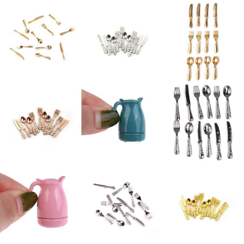 Миниатюрные вилки, ложки и ножи для кукольного домика, посуда, набор посуды из нержавеющей стали, кухонные аксессуары, игрушки