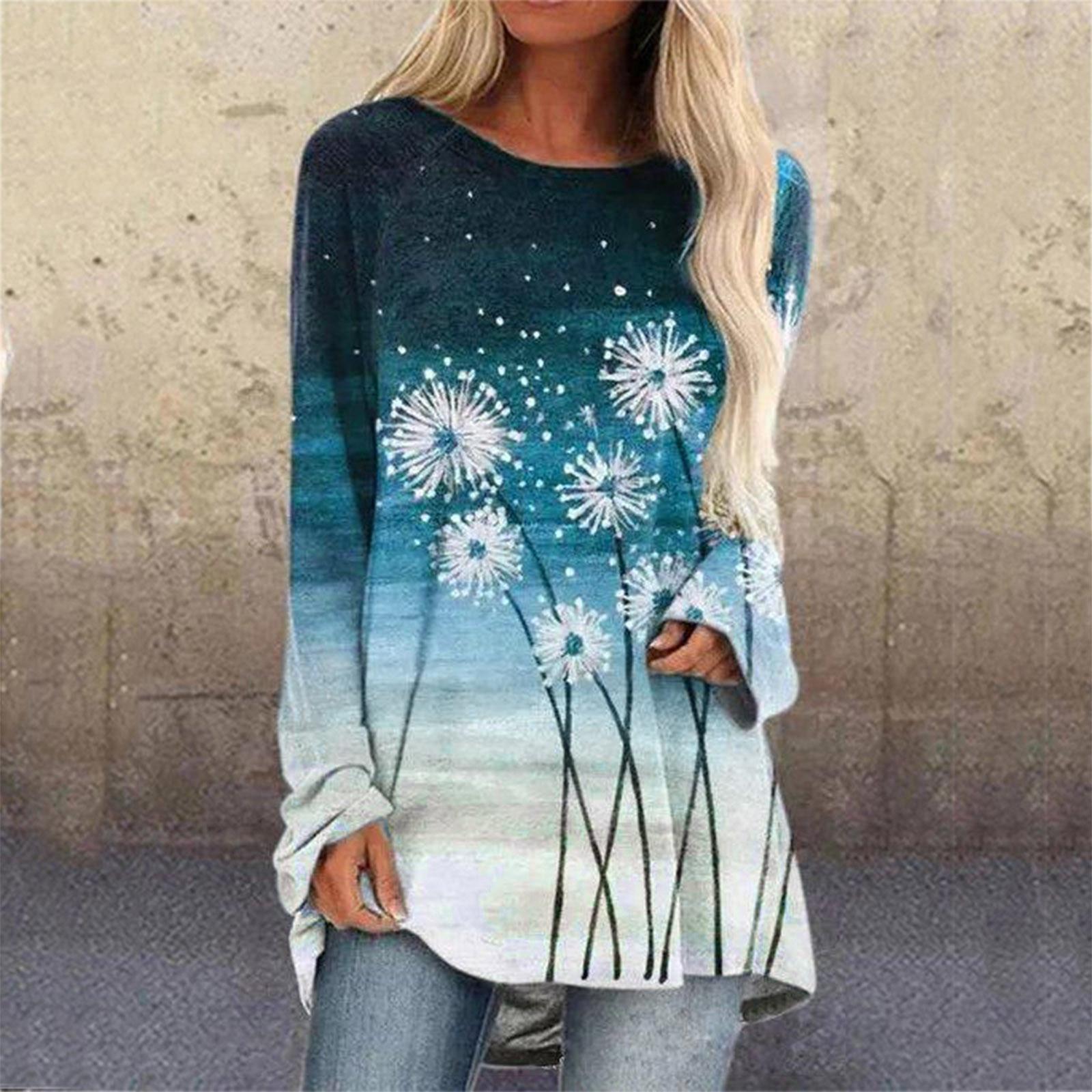 Camiseta de talla grande para mujer, top de manga larga con estampado...