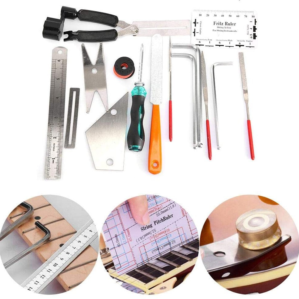20PCS Guitar Tool Kit Repairing Maintenance Tools  Guitar Care 3 in 1 String Winder Leveling Action Ruler Fret Sanding File Set enlarge