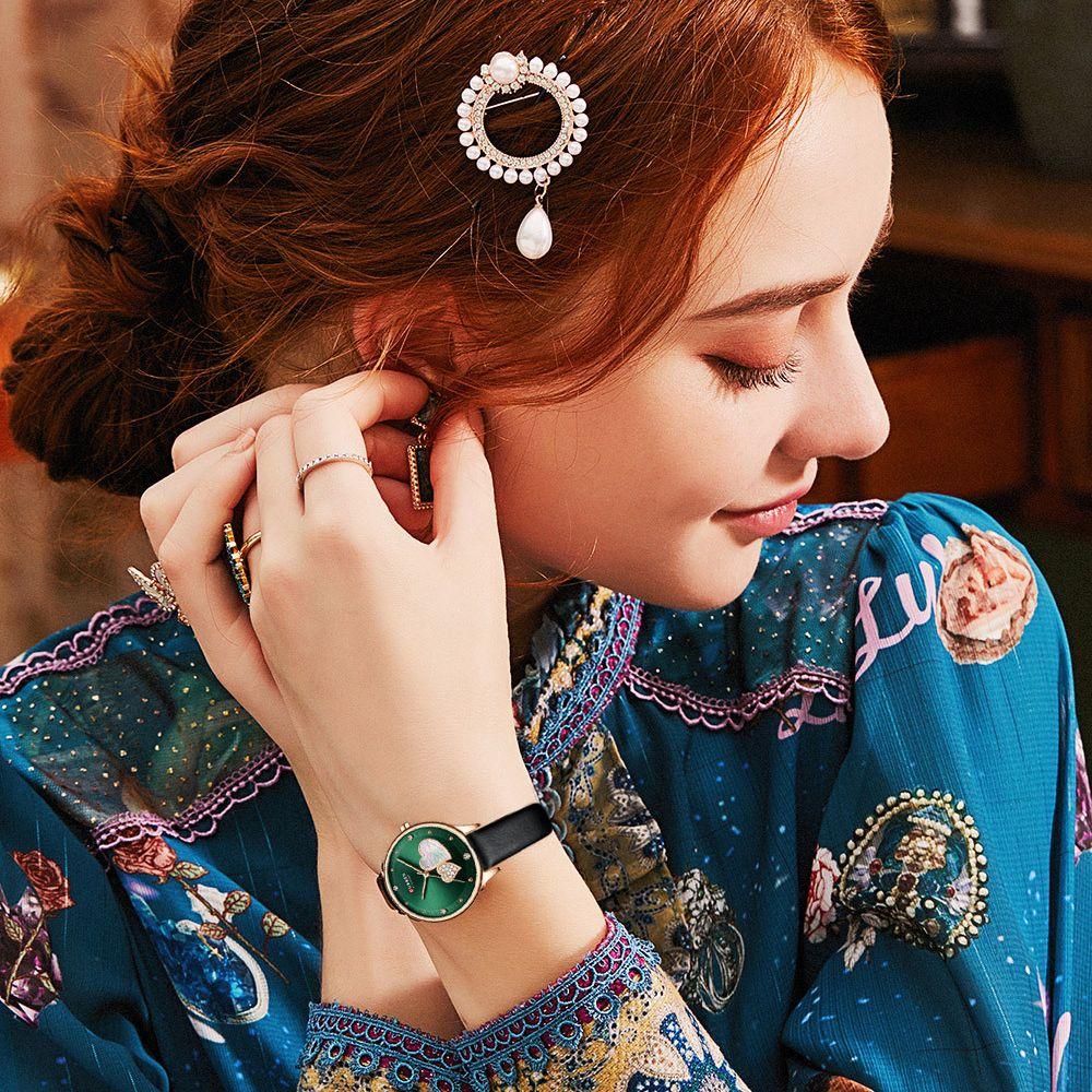 2021 New CURREN Women Fashion Casual Leather Belt 3DHeart Diamond  Shell Dial Quartz Clock Dress Wristwatches Reloj Mujer Ladies enlarge
