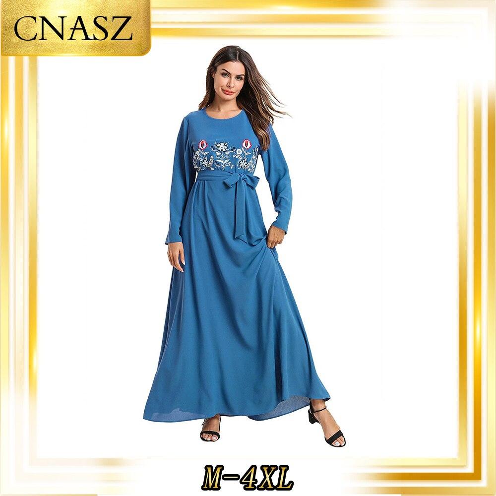 فستان إسلامي نسائي ، قفطان مغربي ، لون سادة ، مطرز