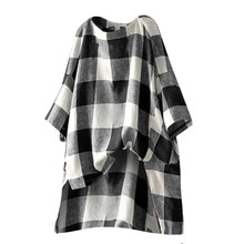 Mode Katoen Linnen Losse Top En Blouse Vintage Rooster Plaid Print Lange Mouwen Oversized Blusas Plus Size O Hals Casual shirt