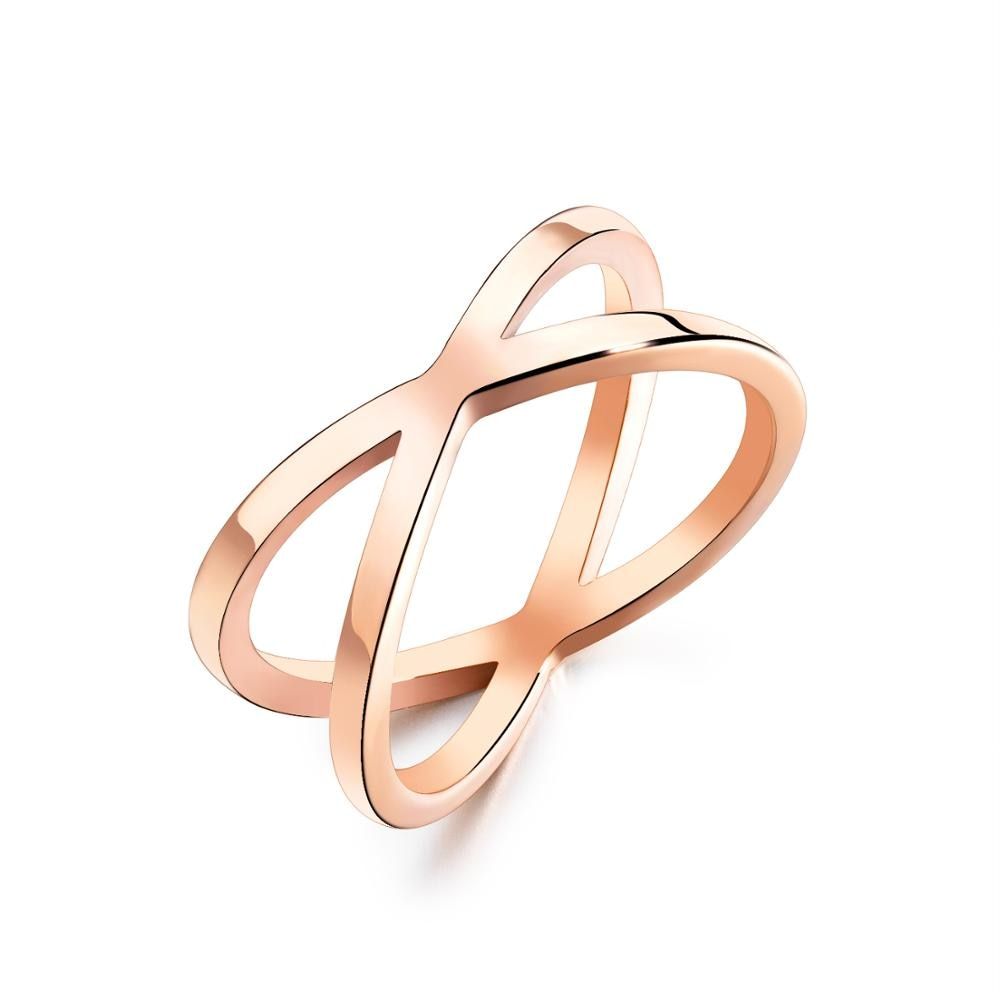 Simples cor de ouro rosa anel para mulher na moda aço inoxidável festa dedo jóias presente tamanho 5-8 dropshipping