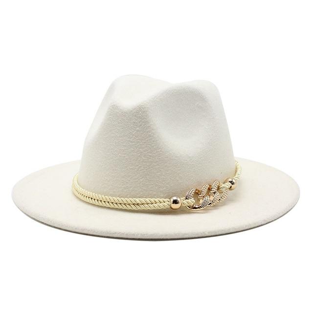 Black/white Wide Brim Simple Church Derby Top Hat Panama Solid Felt Fedoras Hat for Men Women artificial wool Blend Jazz Cap