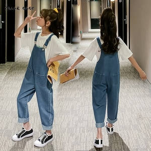 Girls Overalls 2021 Spring Autumn Loose Casual Jeans for Kids Jumpsuit Children's Clothing 12 13 14 Y Teens Trousers Girl Pants