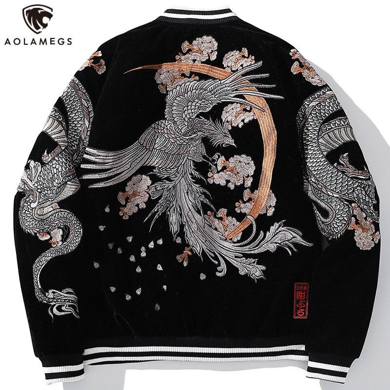 Aolamegs Oversized Bordado Jaqueta Masculina Dragão Chinês Phoenix Animal Bordados Jaquetas Inverno Quente Cabolsa Japonês Retro Outwear