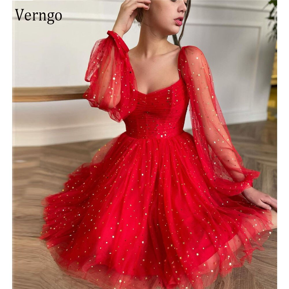 Verngo 2021 Sparkly Red Starrs Tulle Puff Long Sleeves Evening Party Dresses Sweetheart A Line Prom Gowns Homecoming Dress