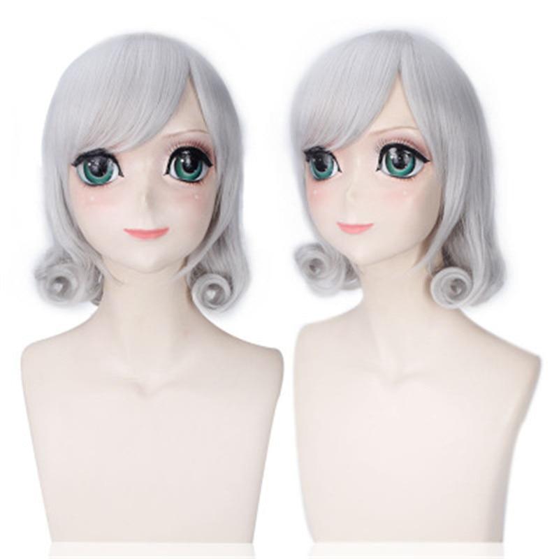 Купить с кэшбэком 40CM Cosplay Hot Game LOL Sweetheart Annie Silver Short Curly Wig League of Legends  Sweetheart Annie Silver Short Curly Wig