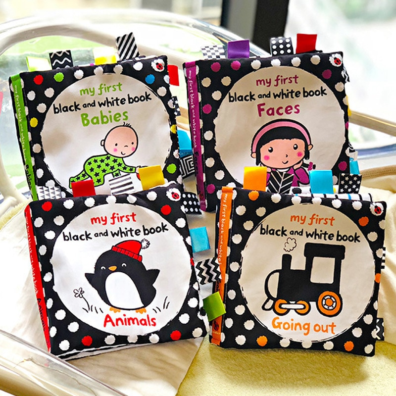 Montessori Baby Cloth Book Black White Book For Baby Early Development Baby Books Educational Cogniz