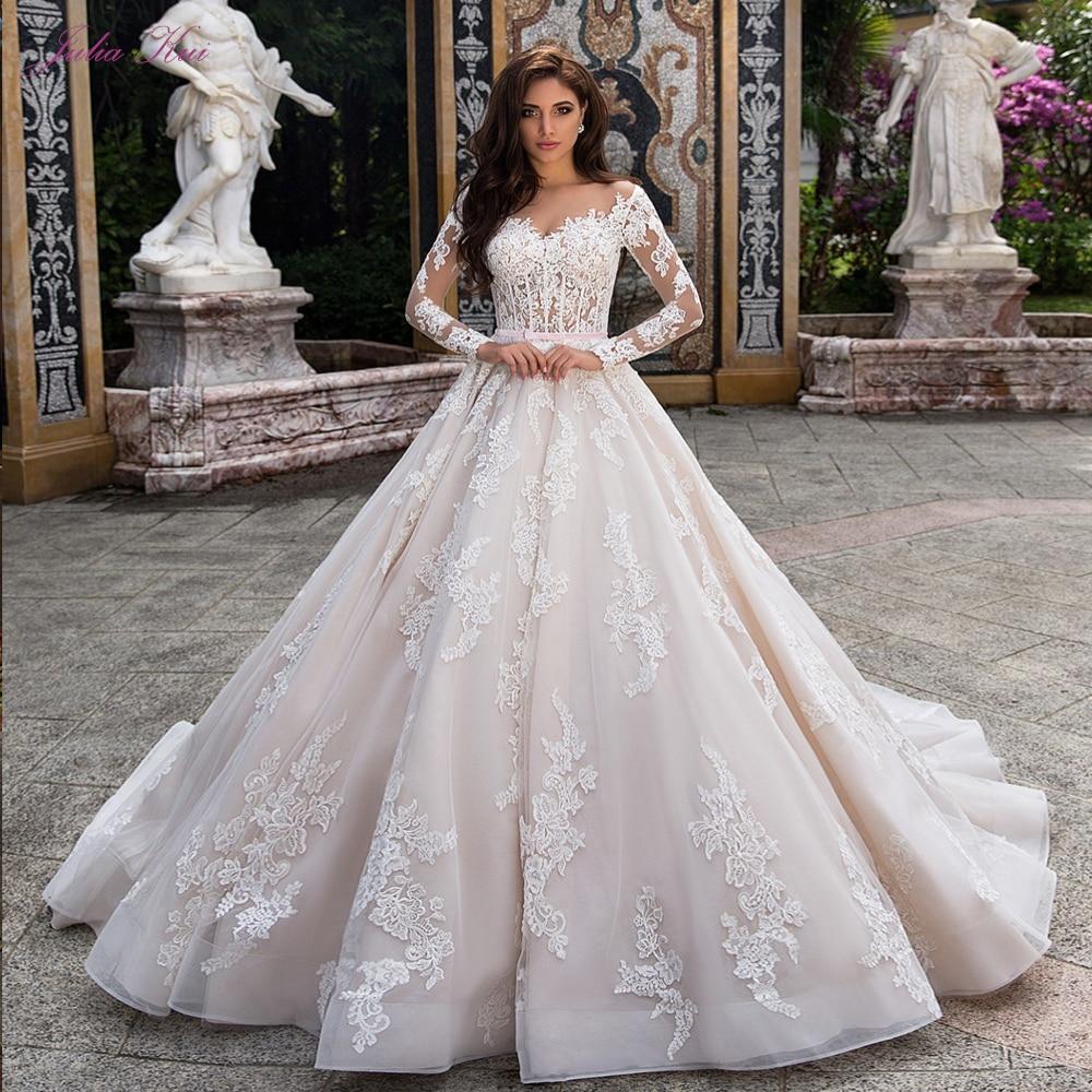 جوليا كوي-فستان زفاف جميل ، خط ، أكمام طويلة ، زر إغلاق ، حزام وردي