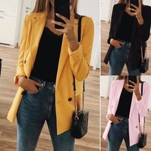 Women 2021 Fashion Office Wear Pockets Blazers Coat Vintage Notched Collar Long Sleeve Female Outerw