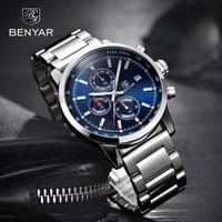 mens watches benyar blue fashion sport watches for men chronograph stainless steel waterproof military watch men reloj hombre