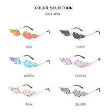 Wave Rimless Sunglasses Fire Flame Sunglasses Streetwear Car Driving Glasses Eyewear Men Women Goggl