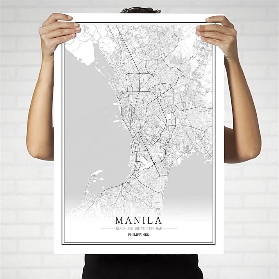 Филиппины черный и белый город Карта постер скандинавский гостиная Манила Себу настенный Декор для дома Холст Картина креативный подарок