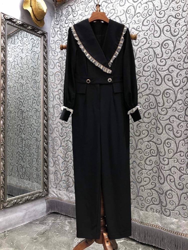 High Quality Brand Jumpsuits 2021 Autumn Winter Rompers Women Lace Patchwork Long Sleeve Elegant Wide Leg Pant Jumpsuit Black