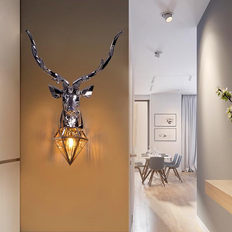 Amerikanischen Wand Lampen Retro Deer Bad loft Geweih Wand Licht Wohnzimmer Schlafzimmer Deco Kunst Leuchte Nacht Wand Lichter für hause