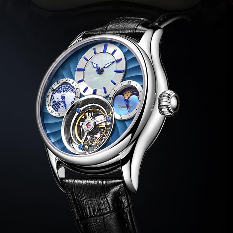Masculinos de Luxo Tourbillon Movimento Mecânico Relógios Marca Safira Multifuncional Dial Múltiplo Fuso Horário Relógio Masculino 2021