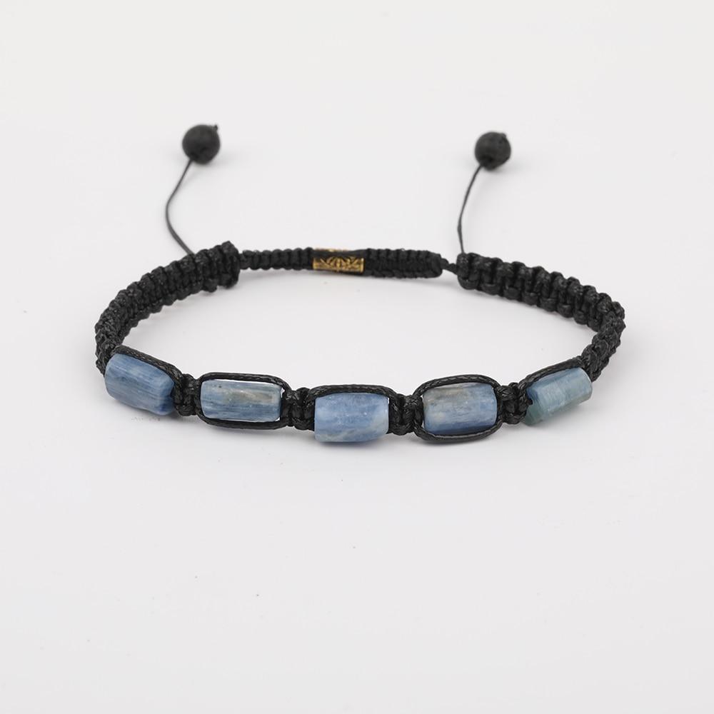 10 unids/lote cianita azul Natural pepita de piedra cordón anudado ajustable pulsera moda mujer Boho trenzado pulsera N0440JBAJ