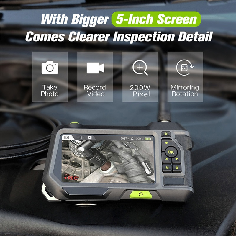 NTS500 5.5mm Dual Lens Industrial Endoscope 2.0MP Inspection Camera 5 Inch 1280P HD LCD Screen Waterproof Borescope with 6 LED
