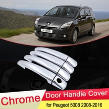 Para Peugeot 5008 2008 2009 2010 2011 2012 2013 2014 2015 2016 lujoso, cubierta cromada de manija de puerta, embellecedor de coche, accesorios de estilismo
