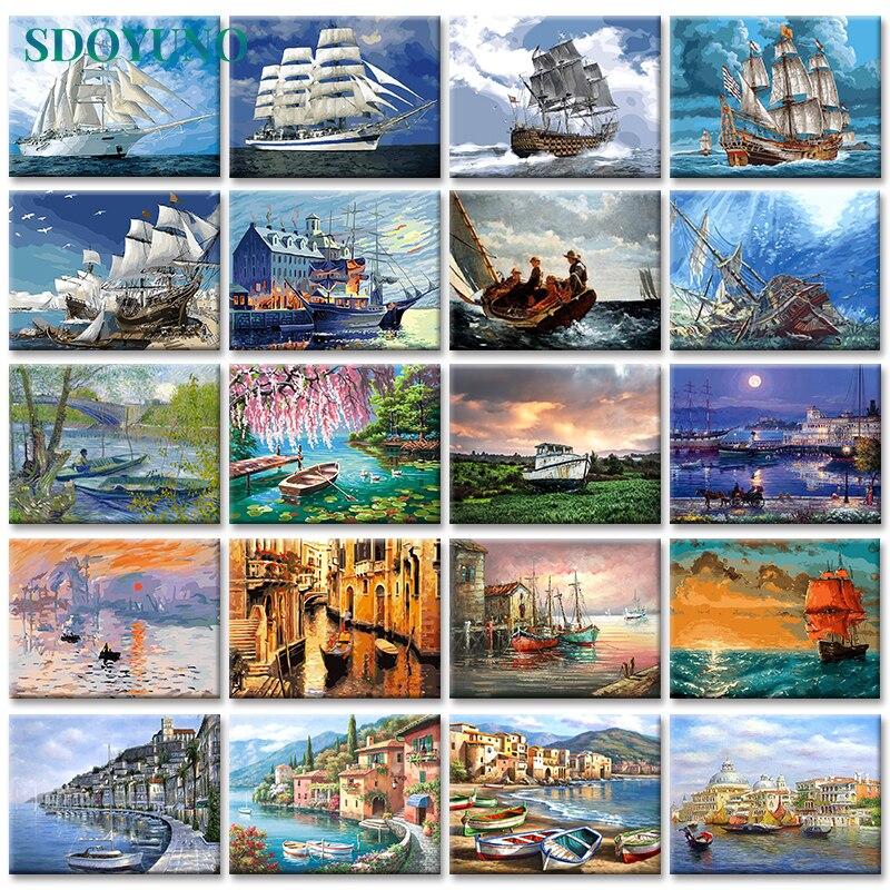 Pintura por números de 40x50cm de GATYZTORY, pintura Digital de paisaje de barco en Cavans sin marco, fotos DIY por números