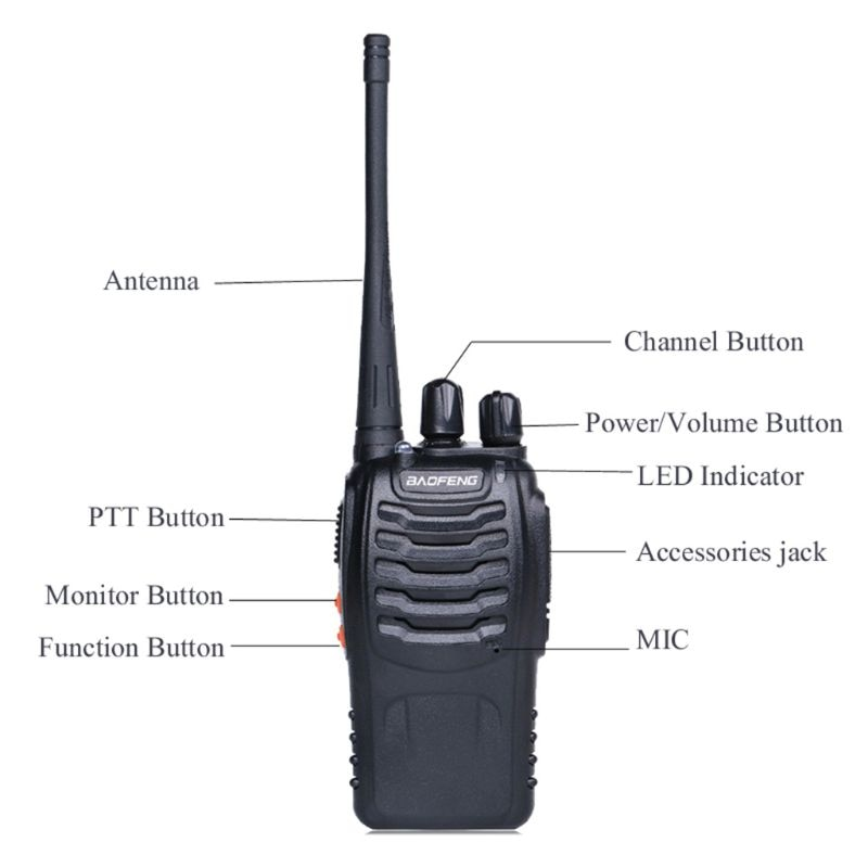 2pcs/lot BAOFENG BF-888S Walkie talkie UHF Two way Radio Baofeng 888s 400-470MHz 16CH Portable Transceiver with enlarge