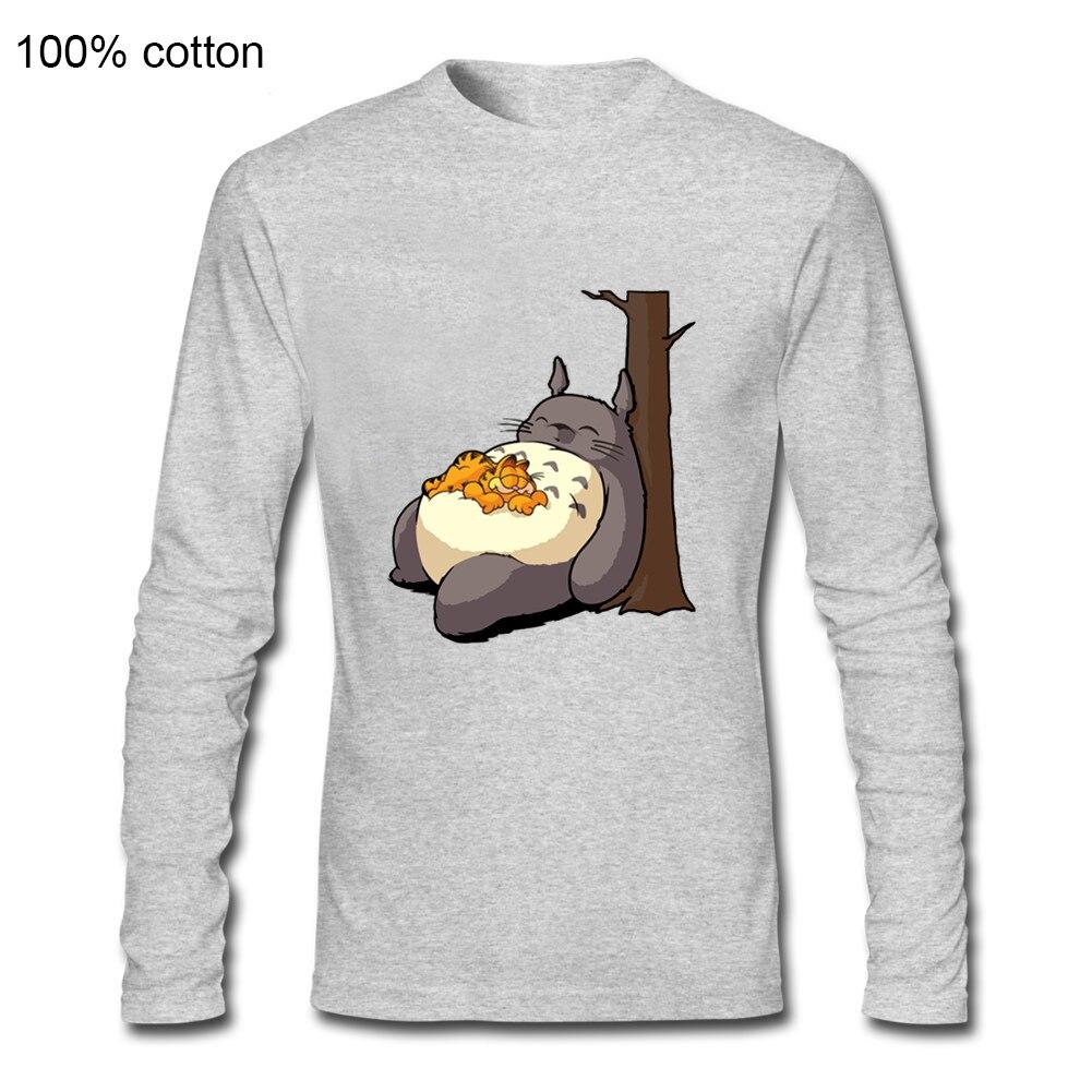 Mi vecino sueño Totoro y lindo gato camiseta Japón Anime mi vecino Totoro manga larga Camiseta hombres Kawaii Kitty camisetas