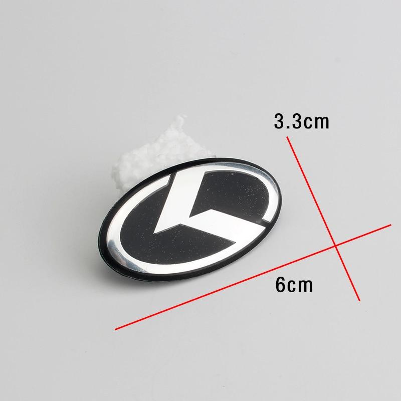 K Logo Emblem 3D sticker Car Front Rear Steering Badge Wheel Center Hub Cap Cover Emblem For KIA OPTIMA K2/K3/K4/K5 Silver Black