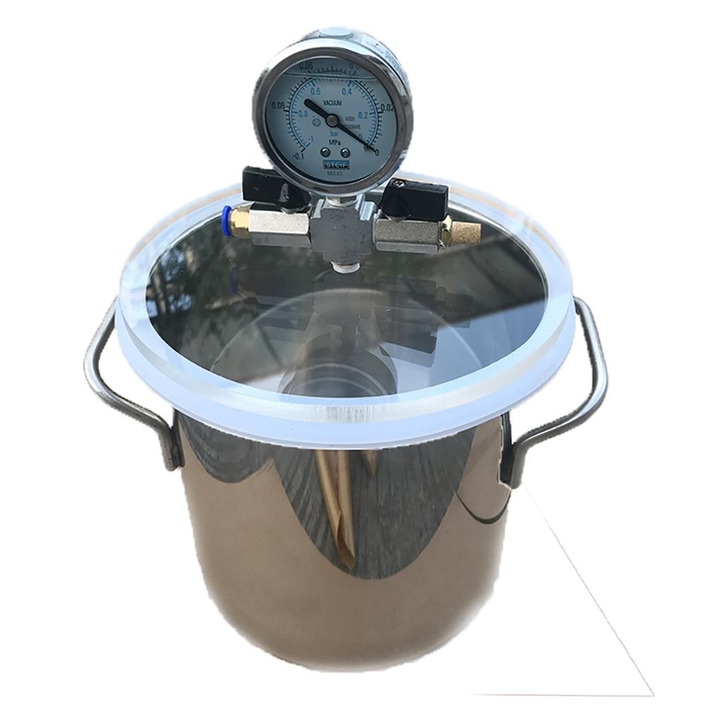 Vacuum Defoaming Tank Barrel Stainless Steel Vacuum Chamber DIY Crystal Glue Maker For AB Glue Epoxy Resin Silica Gel 5L