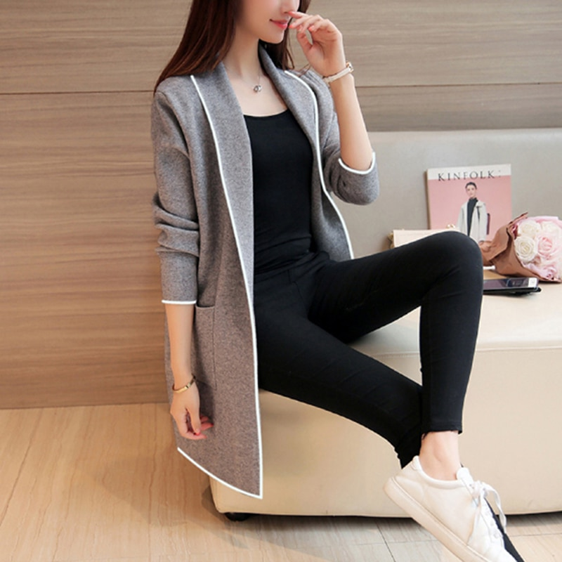 Женская одежда, пальто, свитер, кардиган для женщин, Новые осенне зимние свитера большого размера, модные топы в Корейском стиле Кардиганы      АлиЭкспресс