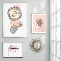 Toile dart mural moderne a fleurs roses douces  rouge a levres pour chambre de filles  peintures dimages  affiches et imprimes pour decoration de la maison