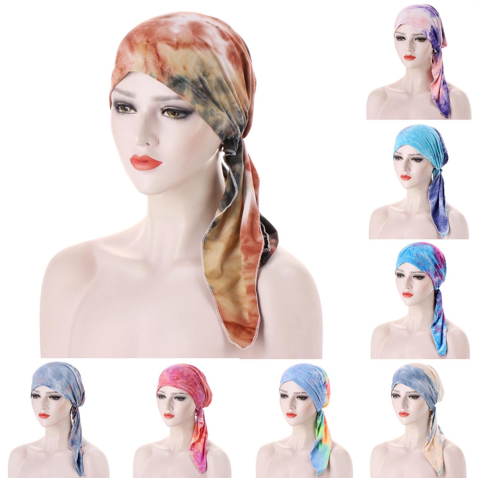 New Women Fashion Hijab Cancer Chemo Muslim Tie-dye Hat Turban High-quality Head Cover Hair Loss Scarf Wrap Pre-tied Bandana